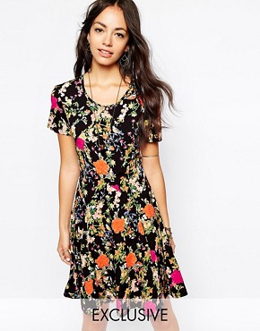 Fallen Star Printed Skater Dress With Fluted Hem