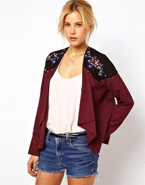 Image 1 of ASOS Jacket with Floral Embroidery