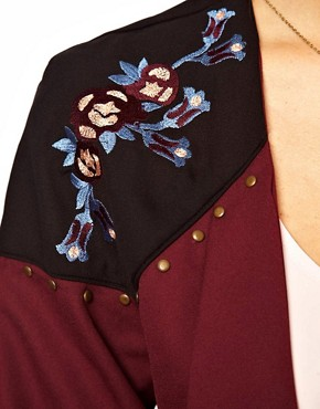 Image 3 of ASOS Jacket with Floral Embroidery