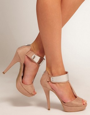 Image 3 ofNew Look Titanium Beige Metal T Bar Platform Shoes