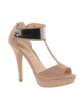 Image 1 ofNew Look Titanium Beige Metal T Bar Platform Shoes