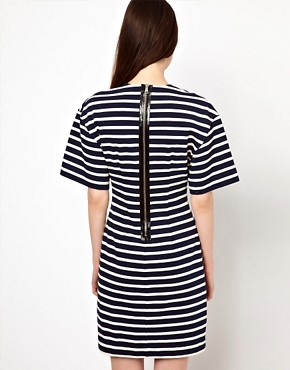 Image 2 ofMarkus Lupfer Stripe Fitted Dress with Heart Brooch