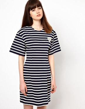 Image 1 ofMarkus Lupfer Stripe Fitted Dress with Heart Brooch