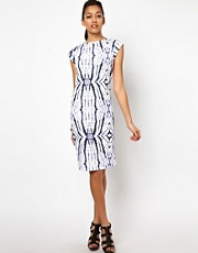 River Island &ndash; Anliegendes Kleid mit gespiegeltem Batikmuster