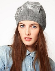 Alice Hannah Angora &amp; Lambswool Blend Cable Beanie With Sequin Bow