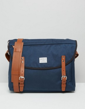 Sandqvist Erik Cordura Messenger Bag In Blue