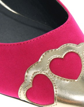 Image 2 ofASOS LOVEHEART Toe Cap Ballerina