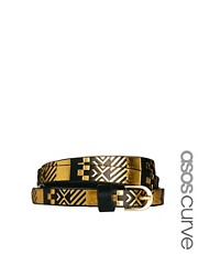 ASOS CURVE Metallic Aztec Metal Keeper Super Skinny Waist Belt