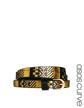 Image 1 ofASOS CURVE Metallic Aztec Metal Keeper Super Skinny Waist Belt