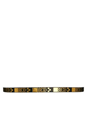 Image 3 ofASOS CURVE Metallic Aztec Metal Keeper Super Skinny Waist Belt