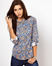 Only Floral Denim Shirt With Studs