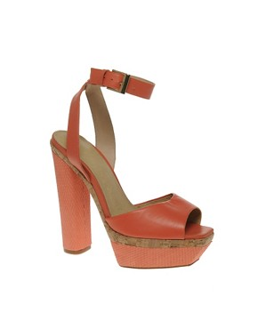 Image 1 ofASOS HARPER Leather Platform Heeled Sandals with Snake Effect