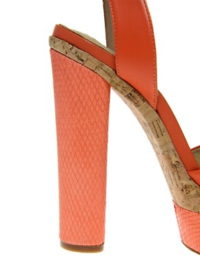 Image 2 ofASOS HARPER Leather Platform Heeled Sandals with Snake Effect