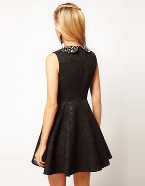 Image 2 ofASOS PETITE Exclusive Embellished Collar Jacquard Dress