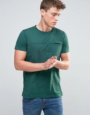 Esprit t-shirt cut and sew patch details - szary