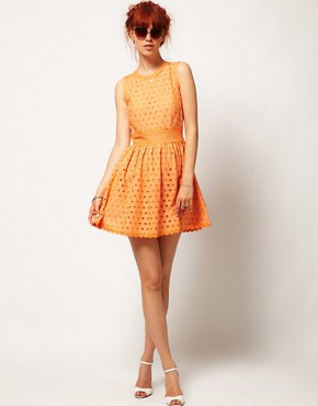 Image 4 ofASOS SALON Skater Dress in Anglaise
