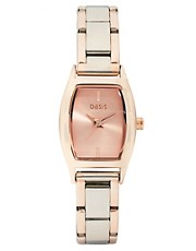 Oasis Two Tone Rectangular Face Bracelet Watch