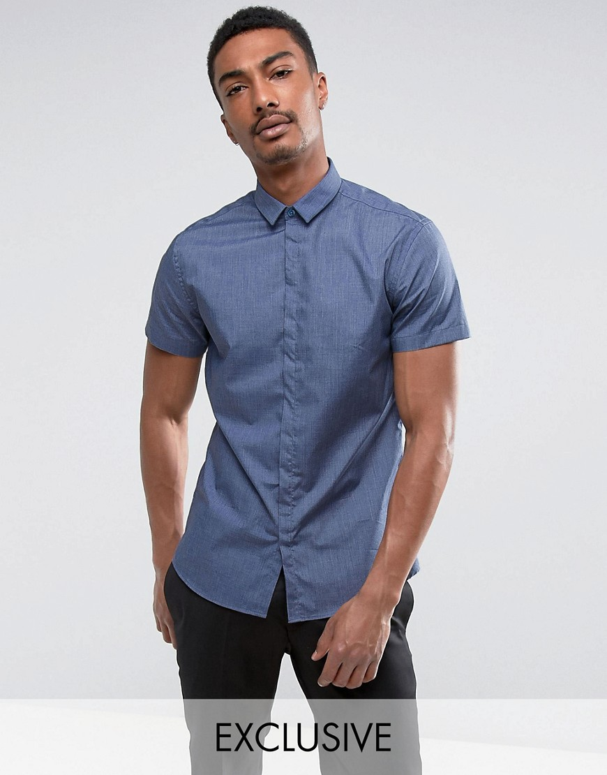 Noak Skinny Short Sleeve Shirt In Chambray - Blue