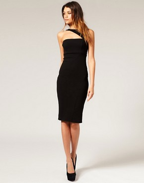 Image 4 ofASOS Pencil Dress with Cut Out Shoulder