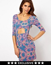 Paprika Cut Out Bodycon Dress in Tie Dye