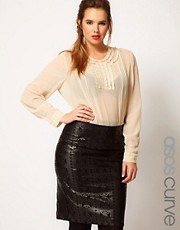 ASOS CURVE Blouse With Lace Trim & Pintuck