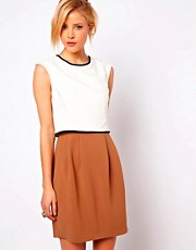 ASOS Pencil Dress In Colourblock With Contrast Detail
