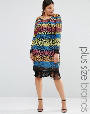 Lovedrobe Luxe Long Sleeve Multi Colour Sequin Mini Dress With Tassel Hem