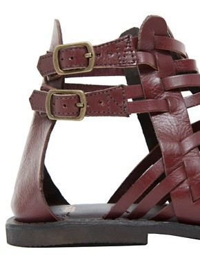 Image 2 ofASOS FICTION Leather Gladiator Flat Sandals