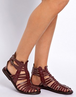 Image 3 ofASOS FICTION Leather Gladiator Flat Sandals