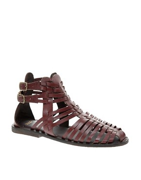 Image 1 ofASOS FICTION Leather Gladiator Flat Sandals
