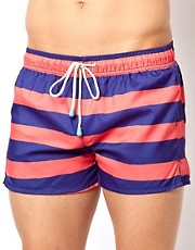 Oiler &amp; Boiler Fat Stripe Shortie Swim Shorts