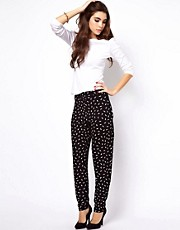 ASOS Peg Trousers in Feather Print