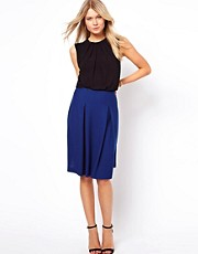 ASOS Midi Skirt in Ponte with Pleats
