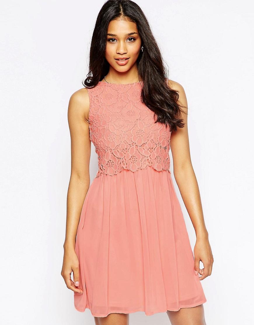 Club L Lace Overlay Dress - Light pink