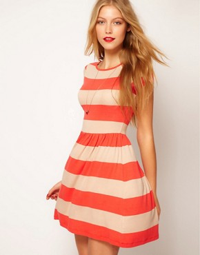 Image 1 ofASOS Skater Dress In Wide Stripe