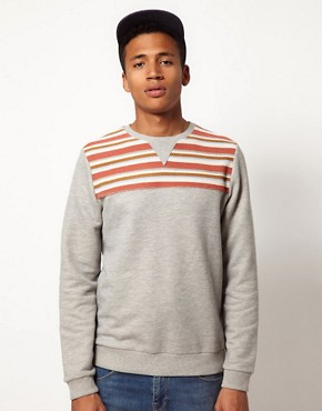 Image 1 of ASOS Sweatshirt With Stripe Yoke Panel