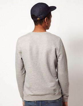 Image 2 of ASOS Sweatshirt With Stripe Yoke Panel