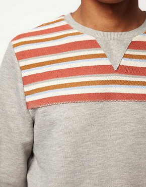 Image 3 of ASOS Sweatshirt With Stripe Yoke Panel