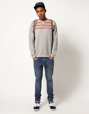 Image 4 of ASOS Sweatshirt With Stripe Yoke Panel