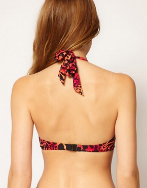 Image 2 ofASOS Red Leopard Padded 50s Halter Bikini Top