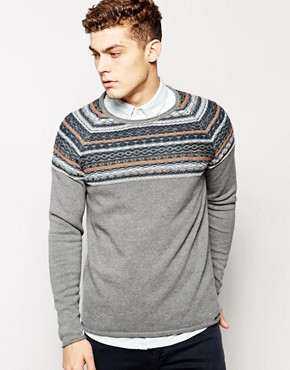 Solid Jumper With Reverse Jacquard Yoke
