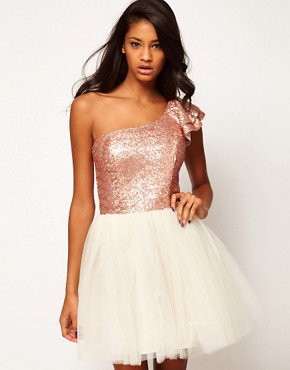Image 1 ofASOS Prom Dress with Sequin One Shoulder