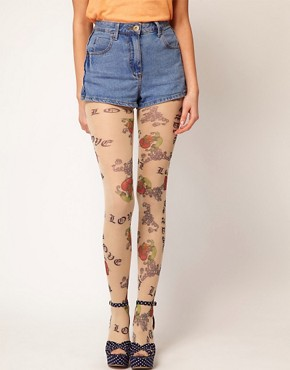 Image 1 ofASOS Love Tattoo Tights