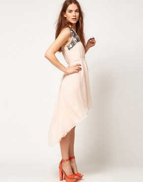 Image 4 ofWarehouse Embellished Yoke Dress