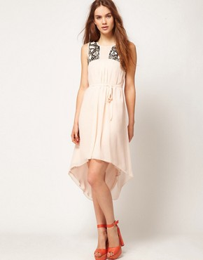 Image 1 ofWarehouse Embellished Yoke Dress