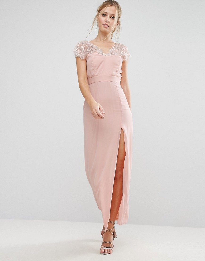 Elise Ryan Scalloped Lace Maxi Dress with V Back