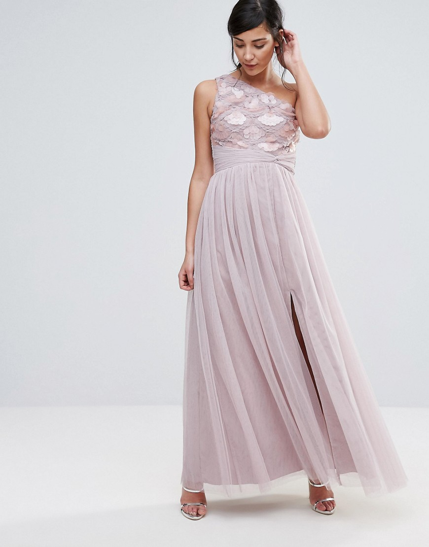 Little Mistress One Shoulder Maxi Dress - Pink