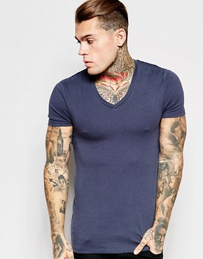 ASOS Extreme Muscle Fit T-Shirt With V-Neck In Stretch