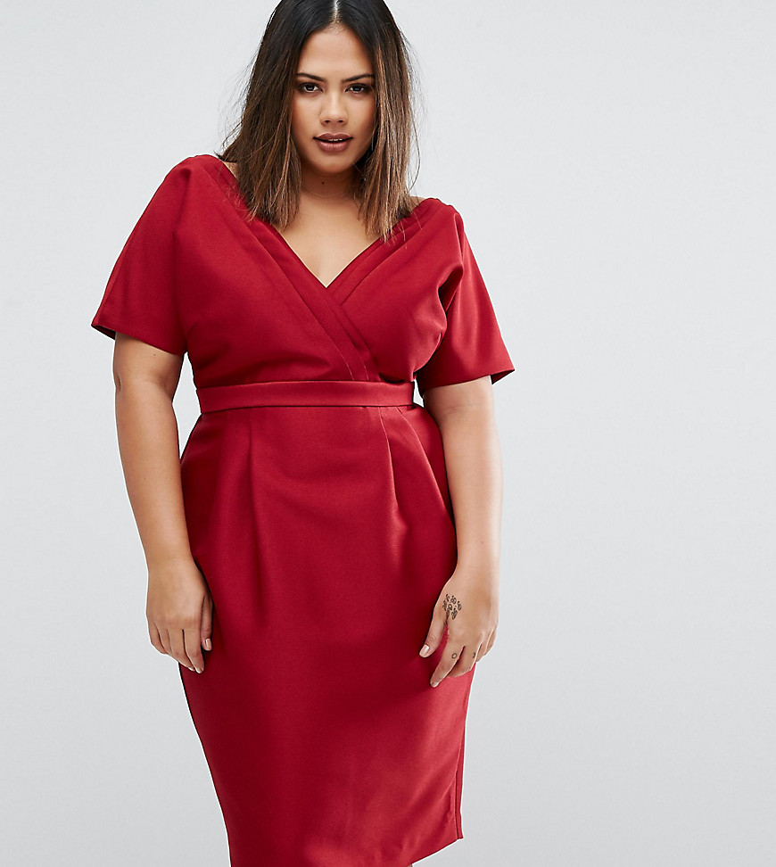 ASOS CURVE Wiggle Dress With Wrap Front And Seam Detail