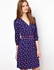 A Wear Flamingo Print Dress